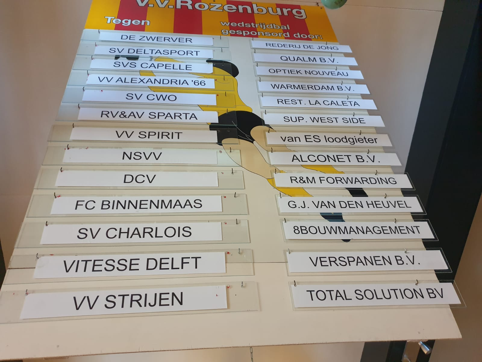 Balsponsoren thuiswedstrijden Rozenburg 1 2019-2020
