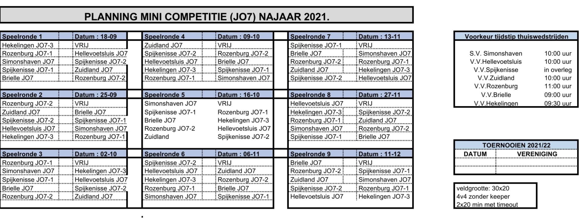 Start Minicompetitie (JO7) vv Rozenburg - overzicht wedstrijden